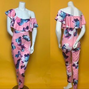 Floral Stretchy Jumpsuit w/ Ruffles